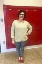 navy Walmart top - beige second hand sweater - navy Warby Parker glasses