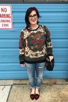 black vintage bag - periwinkle H&M jeans - black MinkPink sweatshirt
