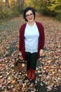 Red-vintage-boots-brick-red-old-navy-cardigan-white-anthropologie-top