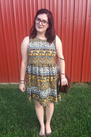 brown thrifted bag - mustard Forever 21 dress - silver gift necklace