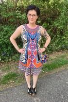 carrot orange boutique dress - navy vintage bag - black Target heels