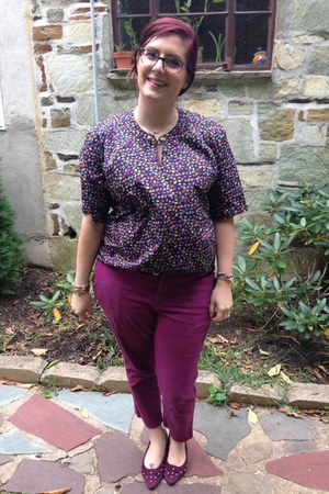 purple BonLook glasses - magenta Old Navy pants - purple vintage top