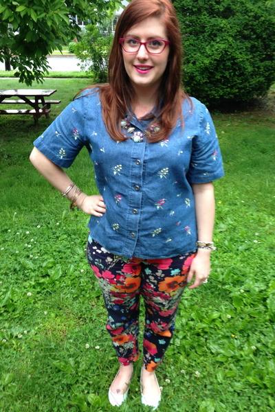 blue Vintage for sale on my etsy blouse - hot pink Steve Madden glasses