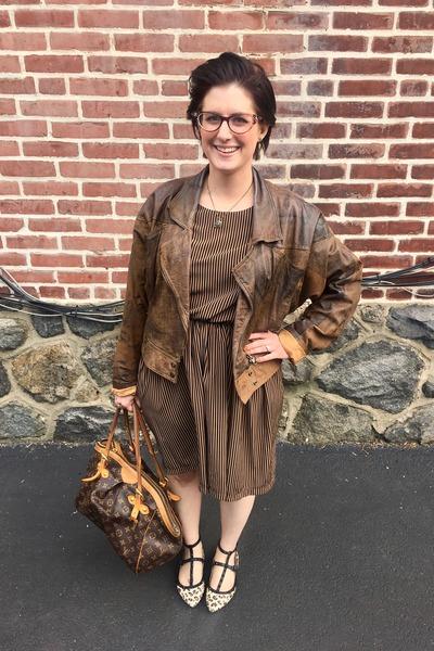 light brown vintage dress - light brown vintage jacket - brown Louis Vuitton bag