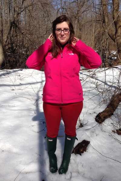 black TJ Maxx blazer - dark green Hunter boots - hot pink north face jacket
