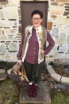 maroon Nordstrom Rack boots - brown Louis Vuitton bag - white Michael Kors vest