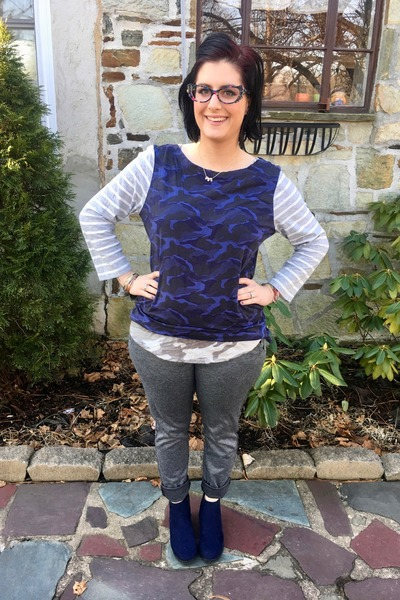navy Gap top - silver Old Navy top - blue JCPenney boots