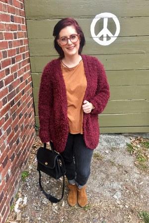 ruby red kensie cardigan - light brown Minnetonka boots - dark gray Seven jeans