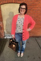 coral Amazon cardigan - sky blue American Eagle jeans - black tiffanys necklace