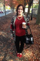 coral baublebar necklace - heather gray Target cardigan - red Target top