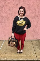 black Reed x Kohls bag - white baublebar necklace - black Dentz Denim sweatshirt