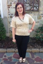 gold Charlotte Russe sweater - light brown Local store necklace