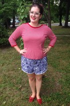 red thrifted top - blue Lilly Pulitzer for Target shorts - gold BonLook glasses