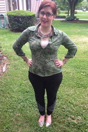 army green Target blouse - black firmoo glasses - neutral NY&CO top