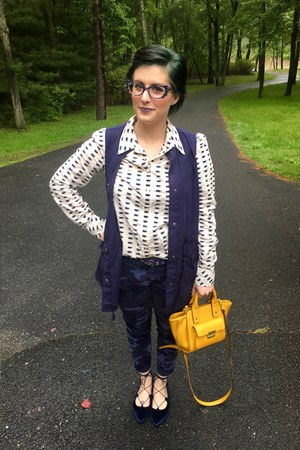 navy Whoa Wait Walmart vest - navy Gap pants - blue Faniel glasses