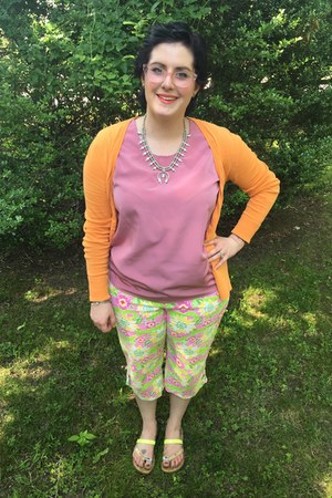 chartreuse Lilly Pulitzer pants - orange H&M sweater