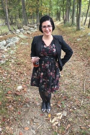 black Marshalls boots - charcoal gray Thakoon for Kohls dress