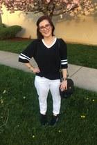 black American Apparel t-shirt - black coach bag - white Kendra Scott necklace