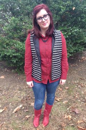 black Gap vest - red vintage boots - navy Seven jeans - ruby red Target blouse