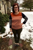 carrot orange Jcrew sweater - light brown firmoo glasses