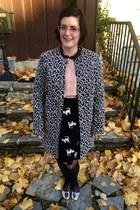 black Walmart stockings - heather gray Betsey Johnson coat