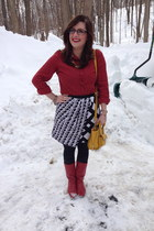 red Target blouse - ruby red vintage boots