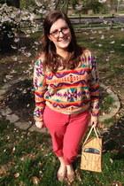 carrot orange Threadflip sweater - tan kate spade bag - coral talbots pants