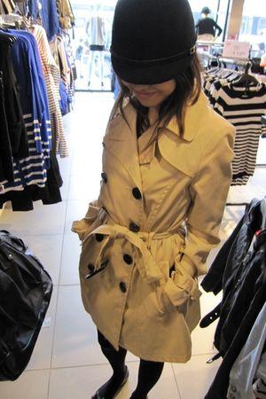 beige H&M coat - H&M hat