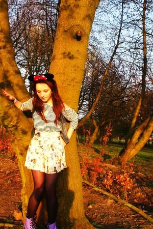 red Disney accessories - black H&M top - white Topshop skirt - black tights - pu