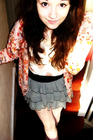 pink H&M cardigan - pink Topshop top - black H&M skirt - white Topshop tights