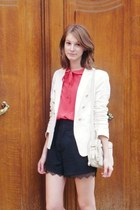 black The Kooples shorts - ivory Zara jacket - ivory leather Zara bag