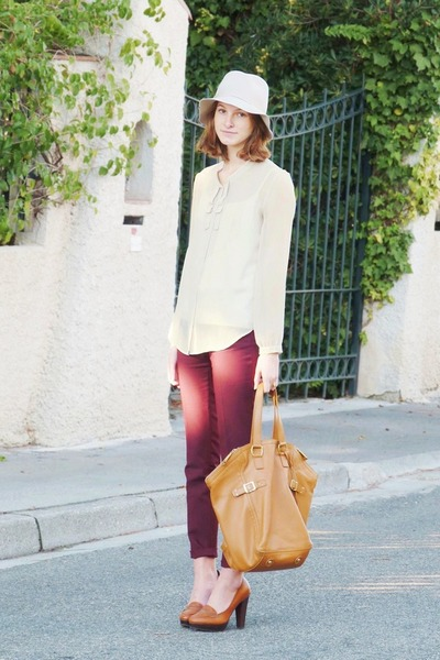floppy Sisley hat - silk Gap shirt - Zara pants - H&M loafers