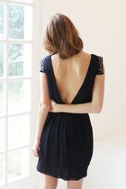 black backless Mango dress - navy Minelli sandals