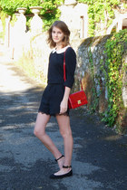 black The Kooples shorts - red Zara bag - black asos top