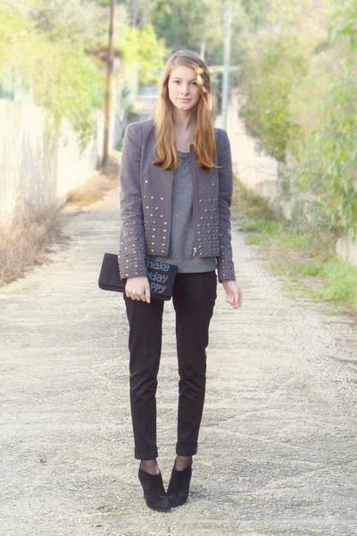 heather gray Comptoir des Cotonniers jacket - black Minelli boots