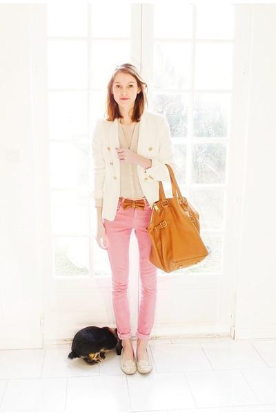 pink asos jeans - white Zara blazer - beige Mango shirt - bronze YSL bag