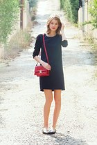 navy two tone The Kooples dress - red Zara bag - black leather texto flats