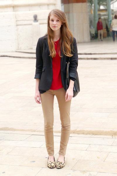 leopard Zara loafers - black Zara blazer - black oversized H&M bag