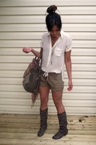 Urban Outfitters scarf - army green Nine West purse - olive green linen wilfred