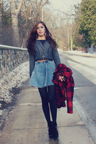 black platform Jeffrey Campbell boots - ruby red Anthropologie coat