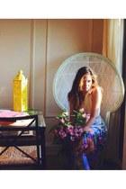 navy floral maxi Anthropologie skirt - hot pink Rebecca Minkoff bag