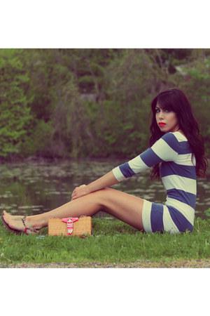 navy striped Forever 21 dress - hot pink Rebecca Minkoff bag
