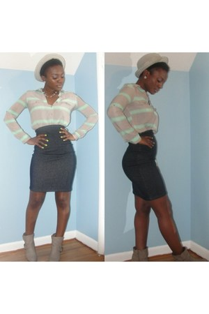 blue country boy couture skirt - silver Charlotte boots - silver Old Navy shirt