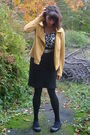 Black-target-top-black-esprit-skirt-yellow-urban-outfitters-sweater-white-