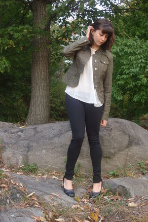 white H&M blouse - green Forever21 jacket - black Target pants - black Target sh