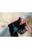 blue vintage hat - blue vintage skirt