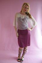 purple vintage dress - white vintage blouse - black battani shoes