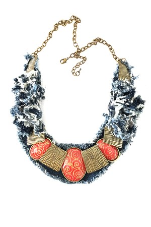 denim necklace Empress of Virtue necklace