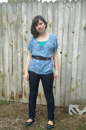 blouse - BDG jeans - belt - Sparkle top - shoes - earrings