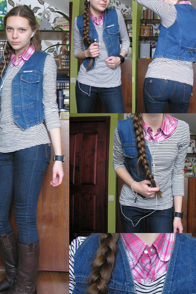 white striped H&M top - brown boots - pink checkered shirt